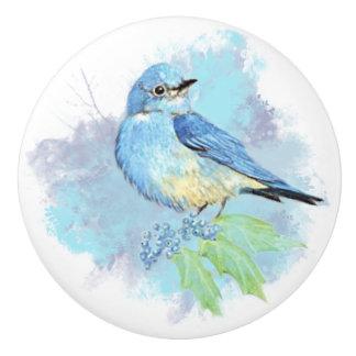 Watercolor Mountain Bluebird Bird Nature Art Ceramic Knob