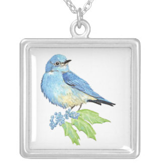 Watercolor Mountain Bluebird Blue Bird Art for the Silver Plated Necklace