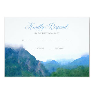 "Watercolor Mountain Wedding RSVP Response 3.5"" X 5"" Invitation Card"