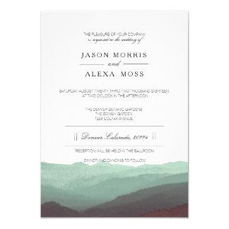 "Watercolor Mountains | Elegant Wedding 5"" X 7"" Invitation Card"