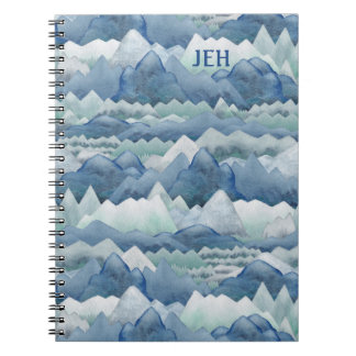 Watercolor Mountains Monogram Spiral Notebook