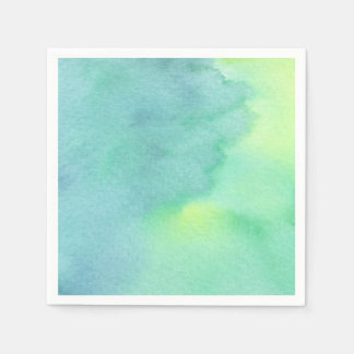 Watercolor Multicolor Marine Greens All Options Disposable Napkin