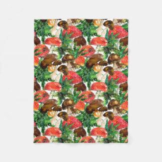 Watercolor  mushrooms and green fern pattern fleece blanket