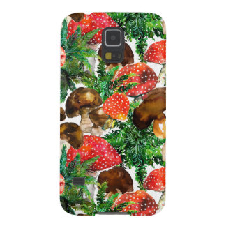 Watercolor  mushrooms and green fern pattern galaxy s5 case