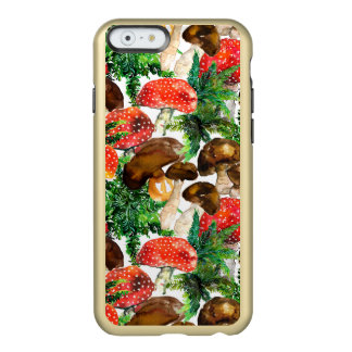 Watercolor  mushrooms and green fern pattern incipio feather® shine iPhone 6 case