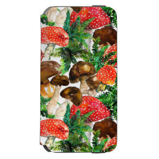 Watercolor  mushrooms and green fern pattern incipio watson™ iPhone 6 wallet case