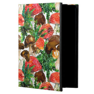 Watercolor  mushrooms and green fern pattern iPad air cover