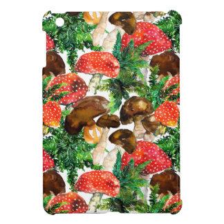 Watercolor  mushrooms and green fern pattern iPad mini cases