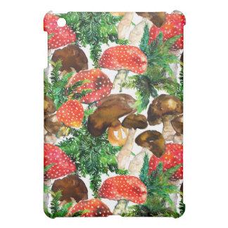 Watercolor  mushrooms and green fern pattern iPad mini cover