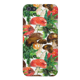 Watercolor  mushrooms and green fern pattern iPhone 5/5S covers