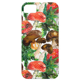 Watercolor  mushrooms and green fern pattern iPhone 5 covers