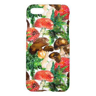 Watercolor  mushrooms and green fern pattern iPhone 8/7 case