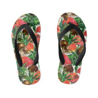 Watercolor  mushrooms and green fern pattern kid's flip flops