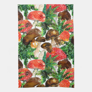 Watercolor  mushrooms and green fern pattern kitchen towel