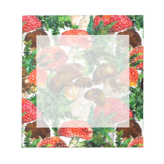 Watercolor  mushrooms and green fern pattern notepad