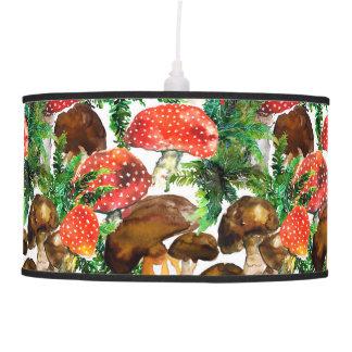 Watercolor  mushrooms and green fern pattern pendant lamp