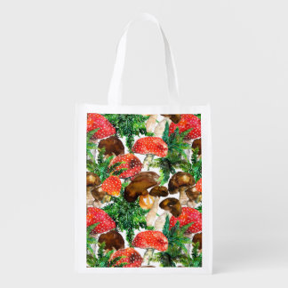 Watercolor  mushrooms and green fern pattern reusable grocery bag