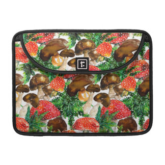 Watercolor  mushrooms and green fern pattern sleeve for MacBooks