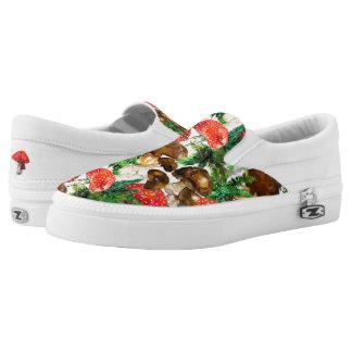 Watercolor  mushrooms and green fern pattern Slip-On sneakers