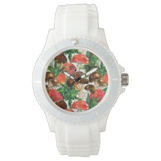 Watercolor  mushrooms and green fern pattern watch