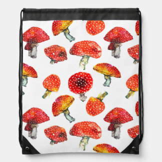 Watercolor mushrooms Cute fall pattern Drawstring Bag