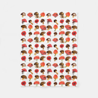 Watercolor mushrooms Cute fall pattern Fleece Blanket