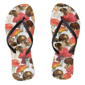 Watercolor mushrooms Cute fall pattern Flip Flops