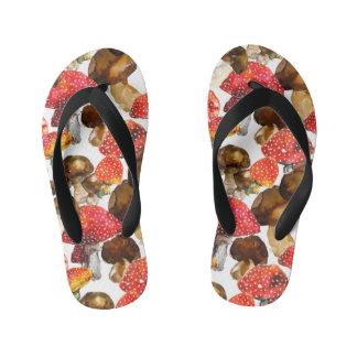 Watercolor mushrooms Cute fall pattern Kid's Flip Flops