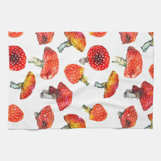 Watercolor mushrooms Cute fall pattern Kitchen Towel