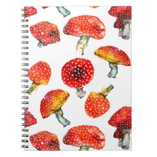 Watercolor mushrooms Cute fall pattern Notebooks