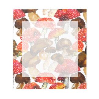 Watercolor mushrooms Cute fall pattern Notepad