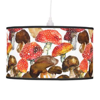 Watercolor mushrooms Cute fall pattern Pendant Lamp