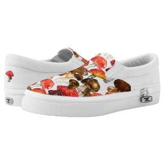 Watercolor mushrooms Cute fall pattern Slip-On Sneakers
