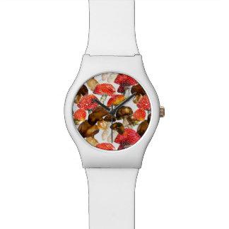 Watercolor mushrooms Cute fall pattern Watch