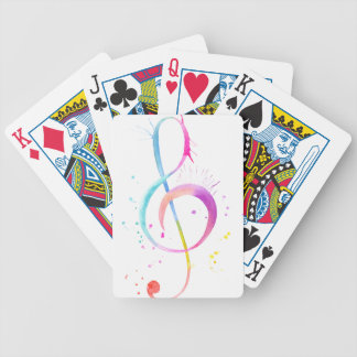 Watercolor Music Notes Bicycle Playing Cards