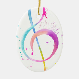 Watercolor Music Notes Ceramic Oval Ornament