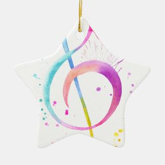 Watercolor Music Notes Ceramic Star Ornament