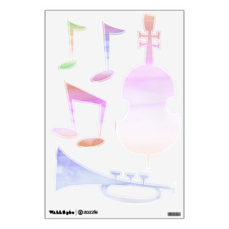 Watercolor Music Notes Instruments Wall Decals