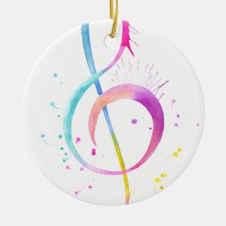 Watercolor Music Notes Round Ceramic Ornament