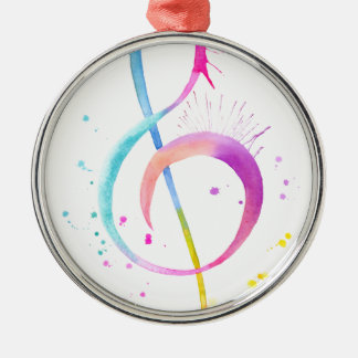 Watercolor Music Notes Silver-Colored Round Ornament