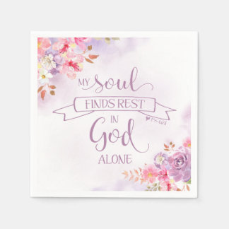 Watercolor My Soul Finds Rest, Ps 62:1 Napkin