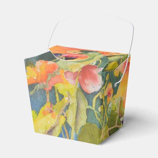 Watercolor Nasturtium Garden Gift Box Favor Box