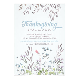 Watercolor Nature Thanksgiving Potluck Invitation