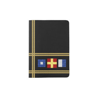 Watercolor Nautical Maritime Signal Flag Monogram Passport Holder