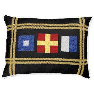 Watercolor Nautical Maritime Signal Flag Monogram Pet Bed