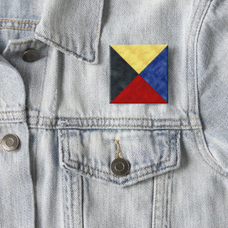 Watercolor Nautical Signal Maritime Flag 2 Inch Square Button