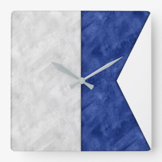 Watercolor Nautical Signal Maritime Flag Square Wall Clock