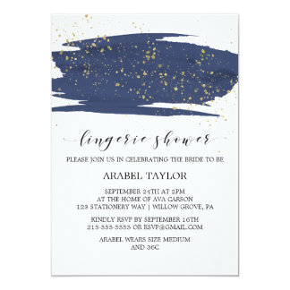 Watercolor Navy and Gold Sparkle Lingerie Shower Card