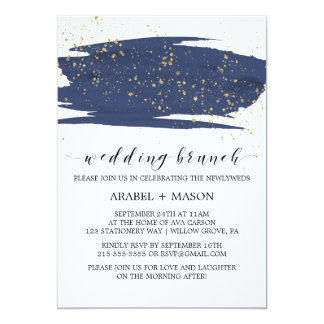 Watercolor Navy and Gold Sparkle Wedding Brunch Card