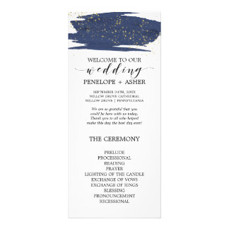 Watercolor Navy and Gold Sparkle Wedding Program Rack Card Template